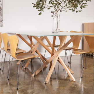Pende Double Dining Table with dining chairs