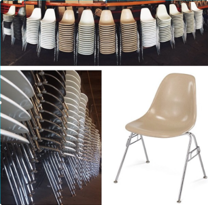 Modernica Fibreglass Chairs Stacking Set