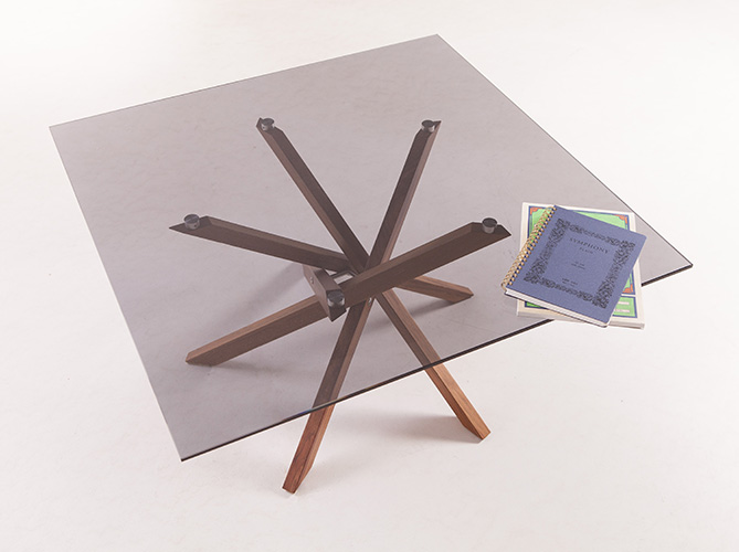 Pende Blackwood + Smoked Glass Low Table with Notebooks