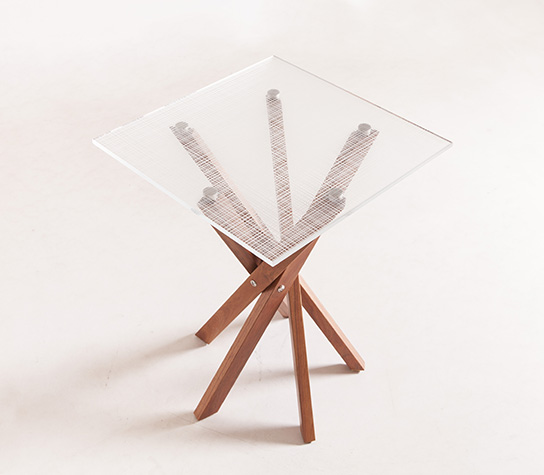 Pende Side Tables Backwood Legs + Etched Glass