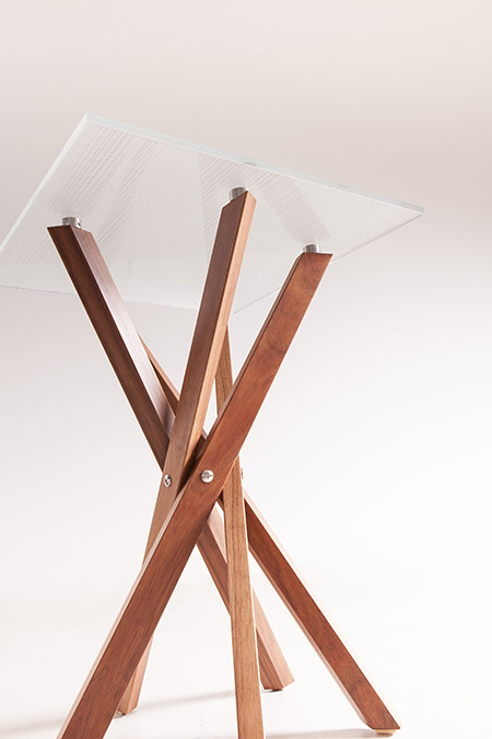 Pende Side Table Blackwood legs +Etched Glass