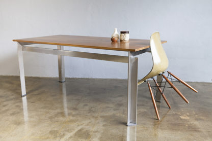 Steel frame table with dining chair
