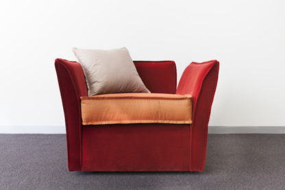Rafine Modern Armchair, burnt orange velvet.