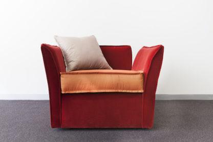 Rafine Modern Armchair, burnt orange velvet.